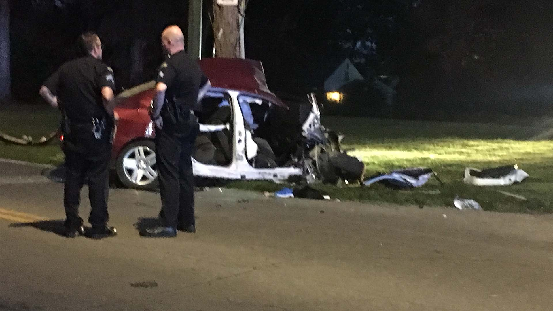 Weapons complaint at Burger King leads to car into pole in