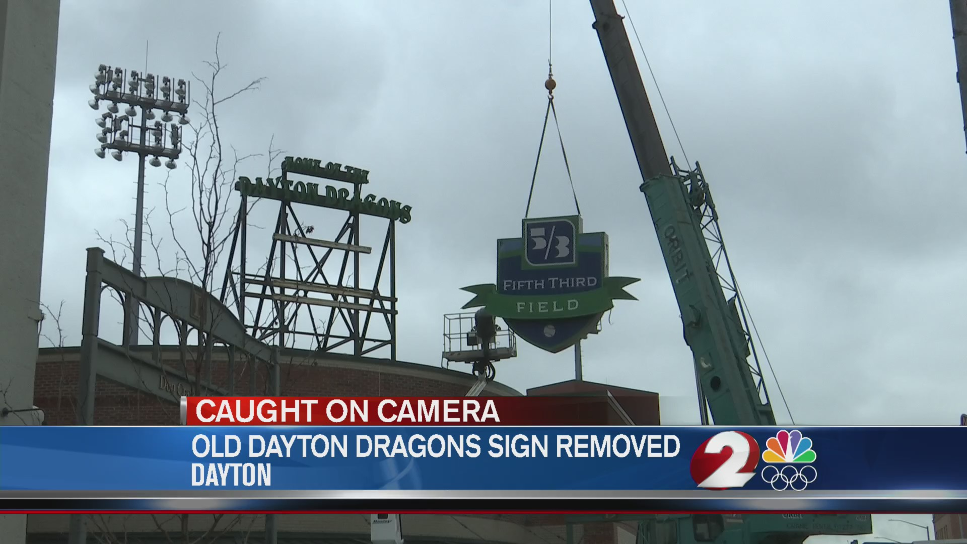 Old Dayton Dragons sign removed