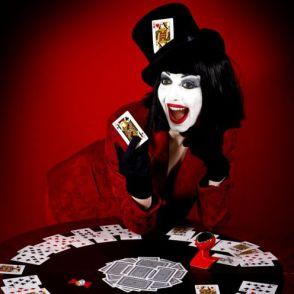 Lady playing poker