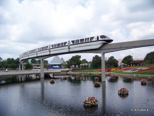 The Epcot Monorail From The Ticket and Transportation Center
