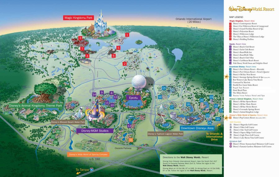 Map of Walt Disney World Resort   wdwinfo com Map of Walt Disney World Resort