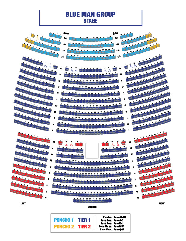 Blue Man Group Seating Chart