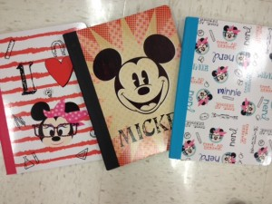 Disney-style marble compostion notebooks