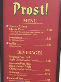 Epcot Holidays Around the World Prost! Menu