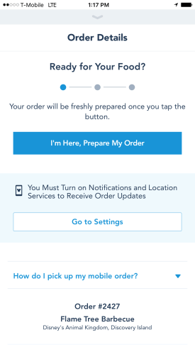 Mobile Ordering - My Disney Experience App