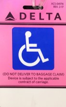 Delta Baggage Claim Hang-Tag for wheelchair