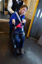 In the boarding wheelchair