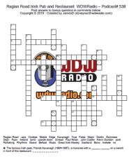WDW Radio Podcast Puzzle - Raglan Road Crossword