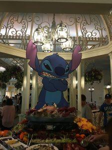 "alt=""Stich decor in the Enchanted Garden restaurant at the Hong Kong Disneyland Resort."""