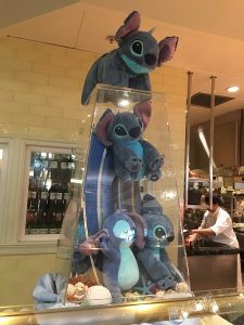 "alt=""Stitch decor in the Enchanted Garden restaurant at Hong Kong Disneyland."""