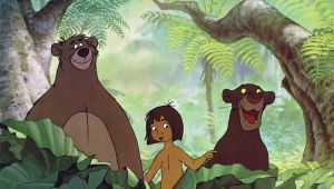 "alt=""screen image of Baloo, Mowgli, and Bagheera from the film, The Jungle Book"""