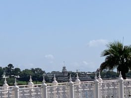 "alt=""View of the Magic Kingdom Train Station from the running trail."""