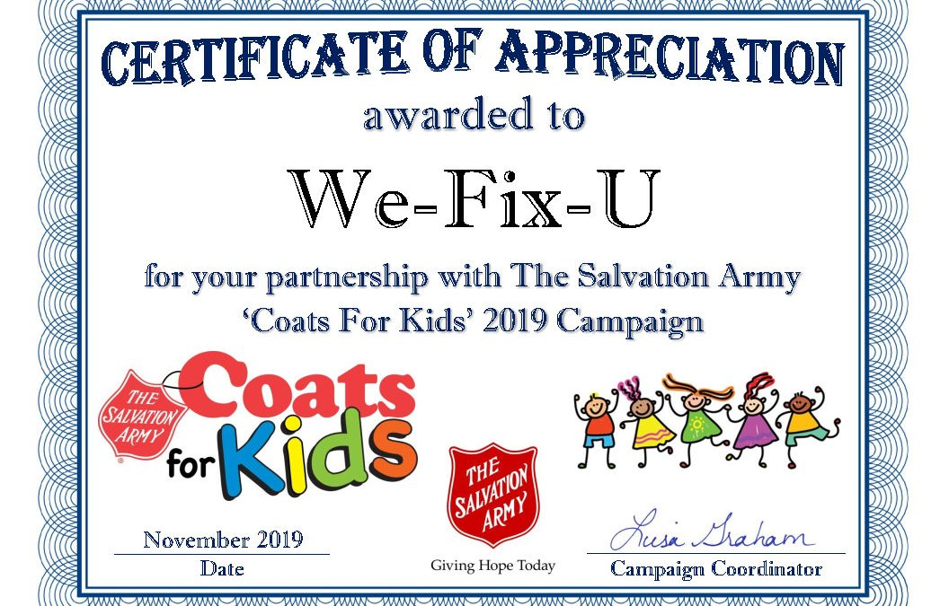 coats for kids certificate with wefixu as sponsor