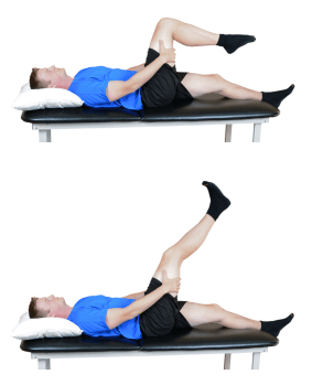 person doing SLR Dural Mobility/ Knee