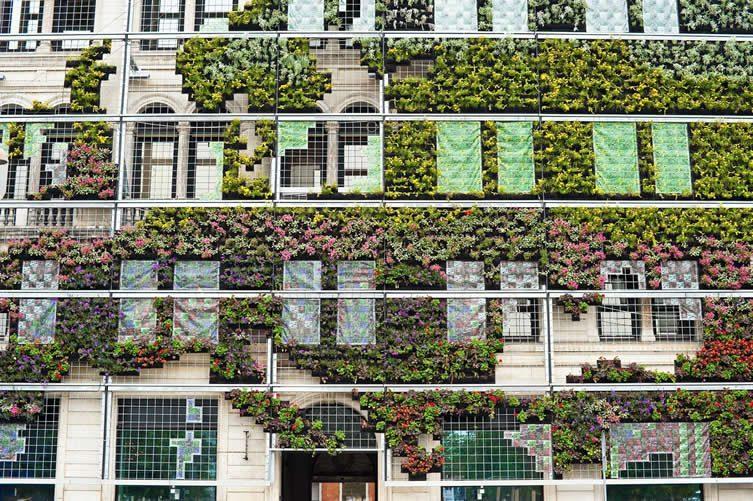 Mur vert dans Kongens Nytorv de Copenhague