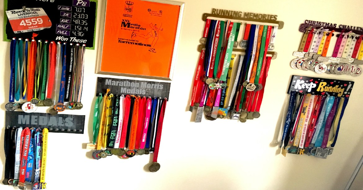 tailored training plan client Sarah's medal collection FB