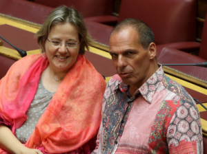 Former Greek finance minister Yanis Varoufakis wore this outrageous shirt to Greek parliament