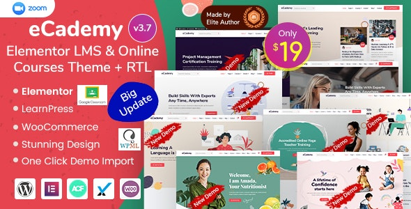 eCademy 4.8 Nulled – Elementor LMS & Online Courses Theme