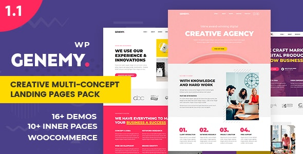 Genemy 1.5.6 – Creative Multi Concept Landing Pages Pack With Page Builder – LatestNewsLive