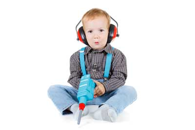 toddler wearing protective headphones