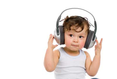 baby wearing protective headphones