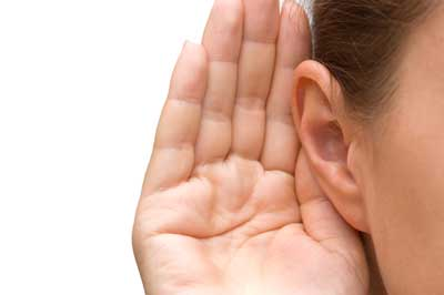 cupping ear to hear