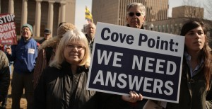 The Maryland Public Service Commission held a hearing on Feb. 20, 2014, to issue a permit to Dominion's proposed facility at Cove Point. Demonstrators gathered at Baltimore City Hall to protest. Capital News Service photo by Amanda Salvucci.
