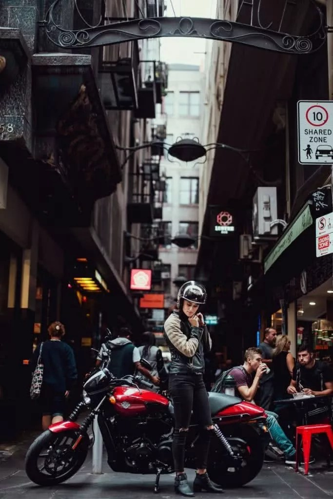 Another Urban Adventure // Melbourne (VIC), Henry Brydon, motorbike, woman, helmet, street, city