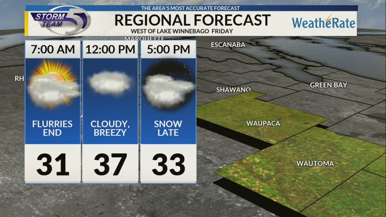 Regional Forecast: Areas West of Lake Winnebago 11/16