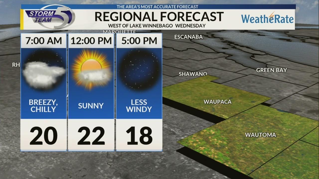 Regional Forecast: Areas West of Lake Winnebago 1/16