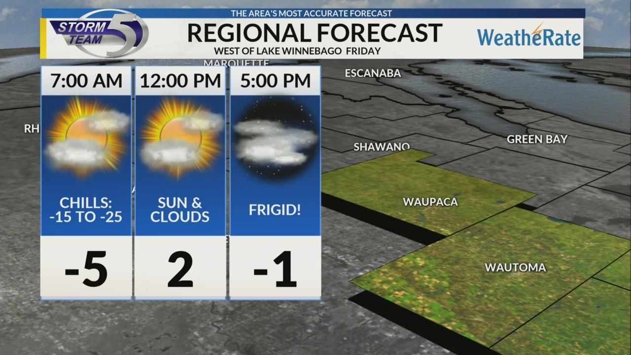 Regional Forecast: Areas West of Lake Winnebago 1/25