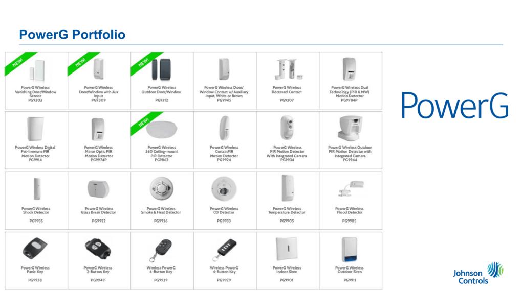 PowerG wireless alarm devices