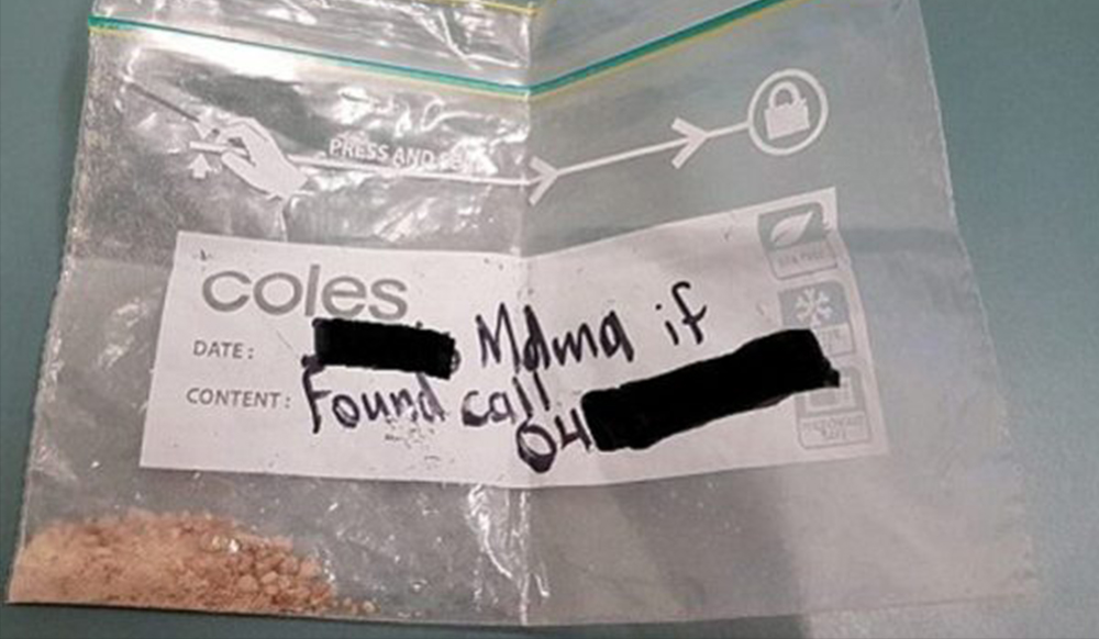 Man arrested after leaving name and phone number on baggie of MDMA