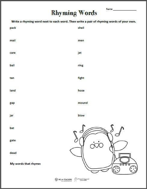Rhyme Scheme Worksheet Practice - Samsungblueearth
