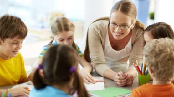 teacher talking to students