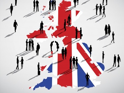 Uk map with british flag featured