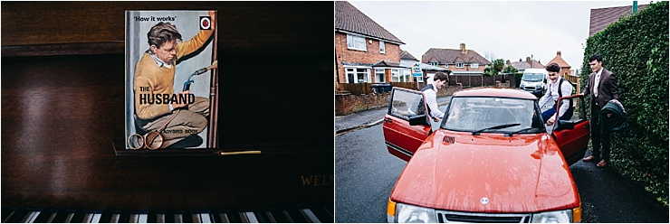 The weddings rings sit on the piano and the groom gets in to a red car by Hannah Hall Photography