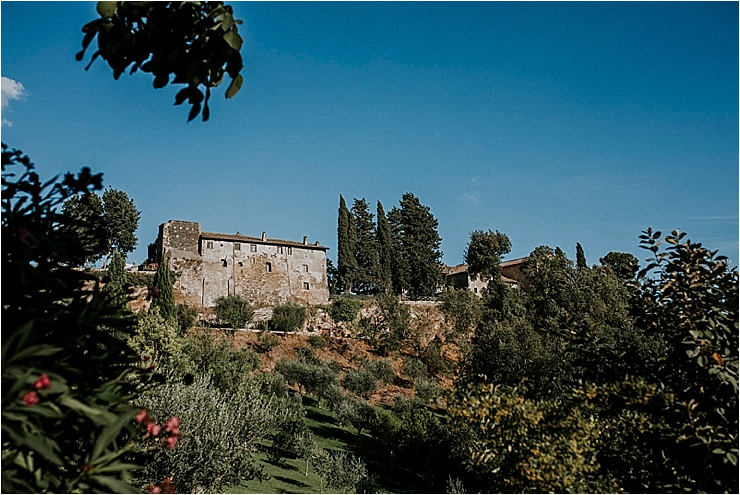 The view of Borgo di Tragliata taken from the road below by Michele Abriola