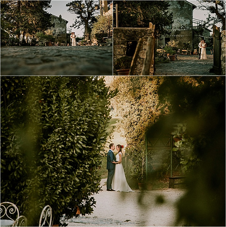 Bride and groom portraits in the green gardens of Borgo di Tragliata by Michele Abriola