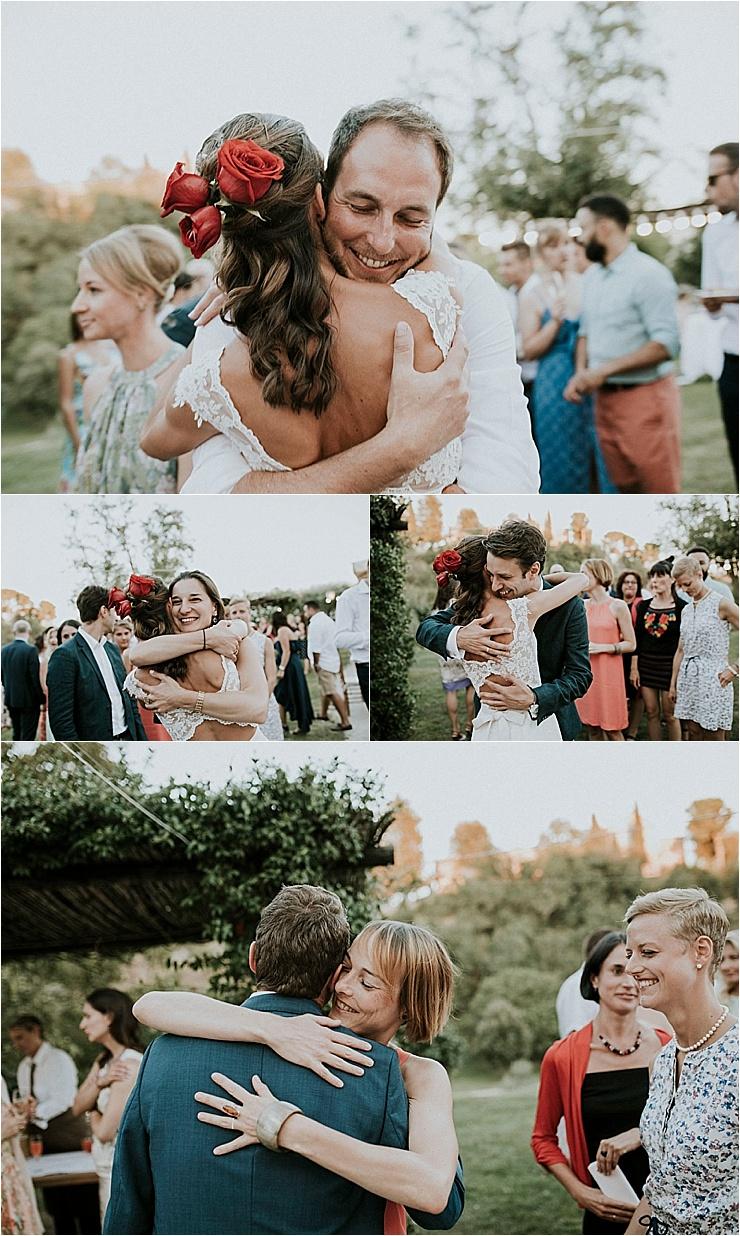 Wedding guests congratulate the bride and groom at Borgo di Tragliata by Michele Abriola