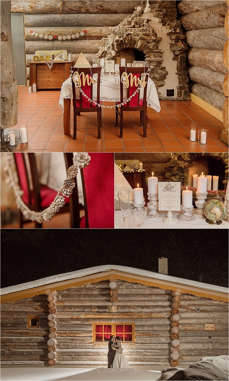 A Lapland adventure theme wedding dinner for the newly wed couple at Kakslauttanen arctic resort in Finland by Your Adventure Wedding