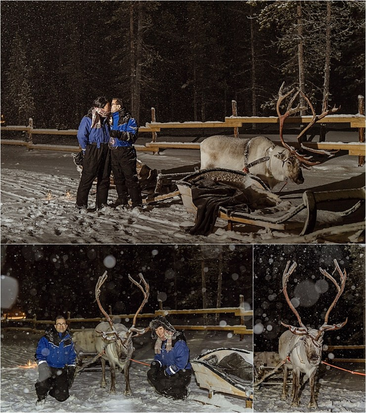 The couple change in to thermal suits and go out on reinder sleigh to search for northern lights at Kakslauttanen arctic resort in Finland by Your Adventure Wedding