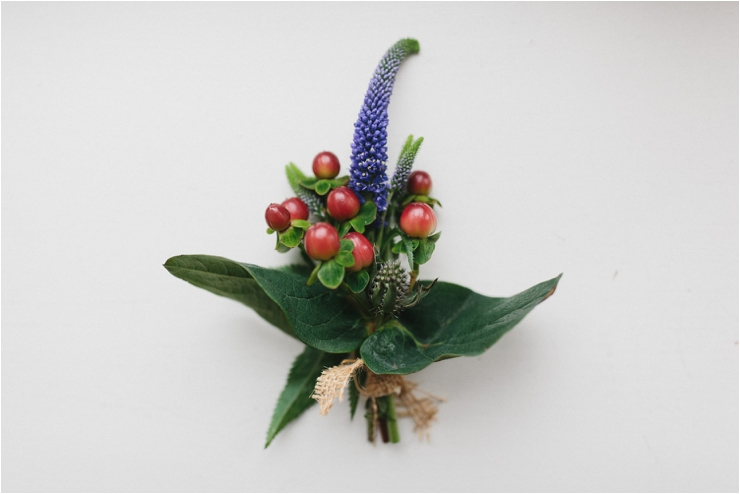 A handmade buttonhole for the groom for his elopement in Lofoten Norway by Thomas Stewart