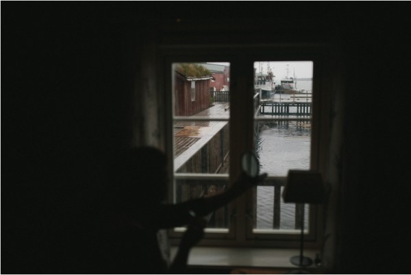 A view from the cabin to the water outside in Lofoten Norway by Thomas Stewart
