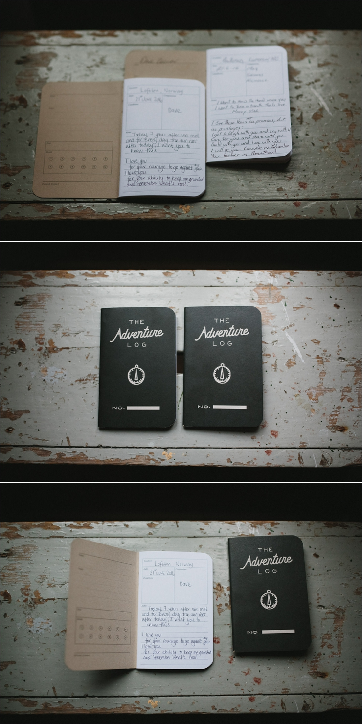 Adventure log notebooks with the bride and groom's vows for their elopement in Lofoten Norway by Thomas Stewart