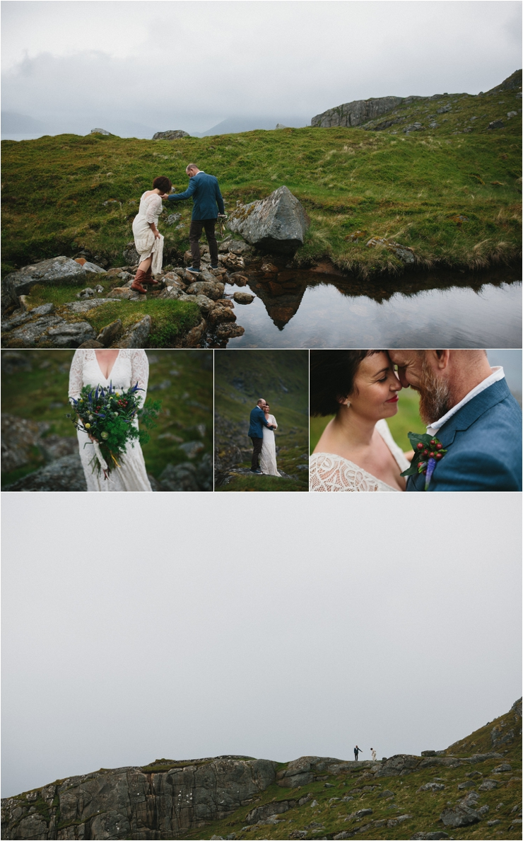 The bride and groom hike across the fields and climb over rivers after their ceremony in Lofoten Norway by Thomas Stewart