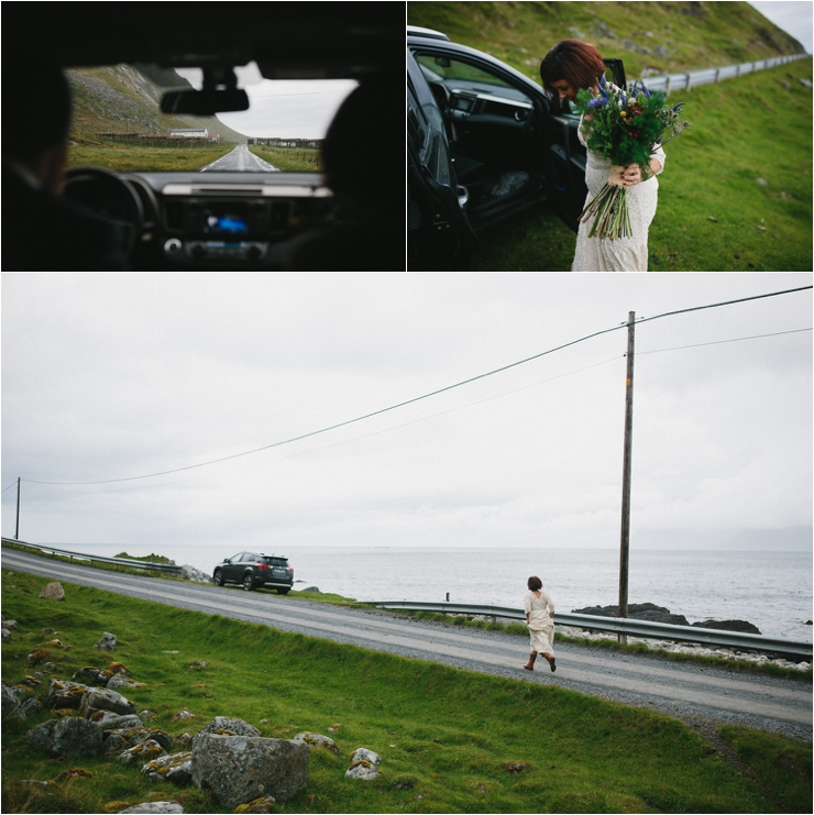 Maz and Dave jump in the car and drive to their ceremony location in Lofoten Norway by Thomas Stewart