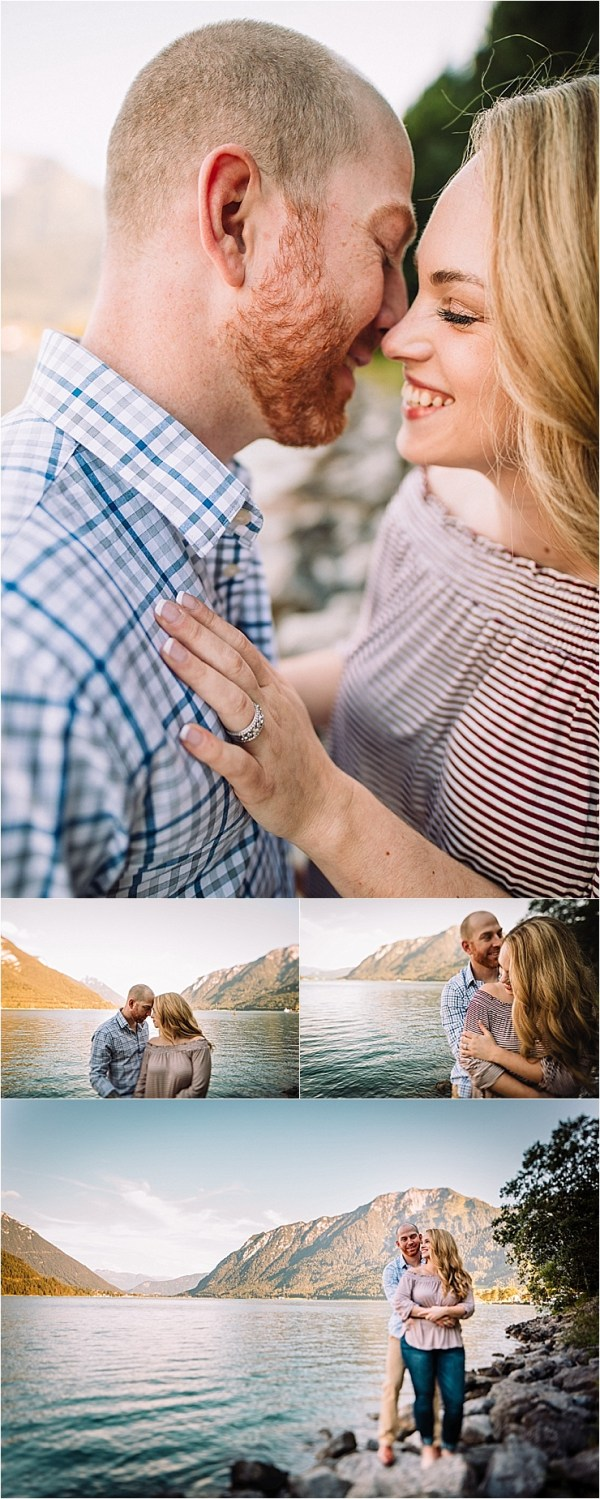 A lakeside engagement shoot at lake Achensee in Austria by Wild Connections Photography