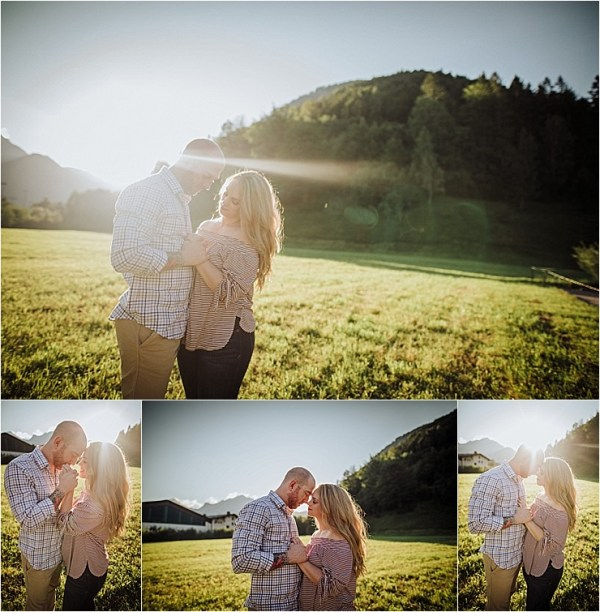 Sunset and golden light in the mountains for this engagement shoot at Lake Achensee in Austria by Wild Connections Photography