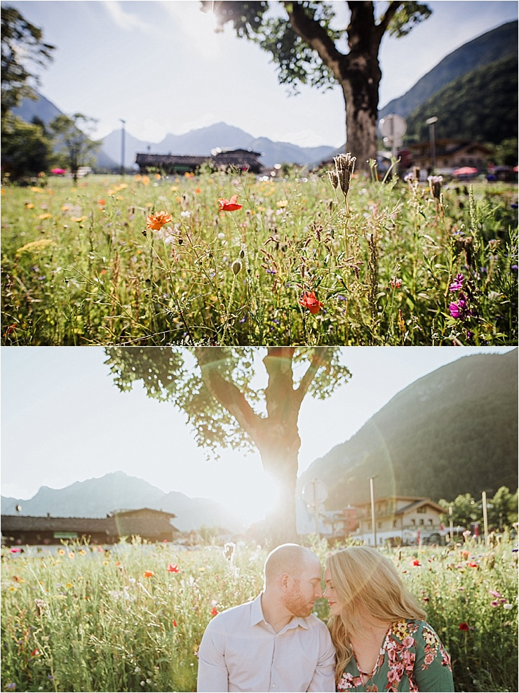 Engagement shoot with wild flowers in the Austrian meadows by Wild Connections Photography
